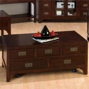 Jofran - Rectangle Cocktail Table W/ (5) Pull-thru Drawers W/ Casters (assembled)