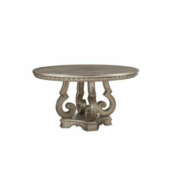 ACME Northville Dining Table w/Single Pedestal - 66915 - Antique Silver