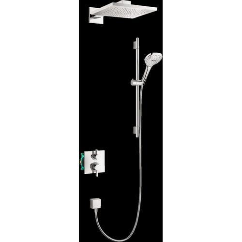 Chrome Thermostatic Showerhead/Wallbar Set with Rough, 2.0 GPM
