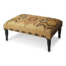 This Southwestern-inspired cocktail ottoman will stylishly enhance your space. Featuring a Mountain Lodge design aesthetic, it is hand crafted from select wood solids, 20% wool, 80% jute.