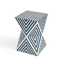 See Details - This cubic end table is an eye-catching addition to the living room, bedroom, or office space. This artisanal accent is expertly hand crafted from bone inlays that are hand-cut, individually formed, and arranged with painstaking detail including a transfixing modern geometric pattern and a hand-dyed botanical motif. Made from engineered wood and resin, it features cut-out sections all around its base for a stunning prismatic effect.