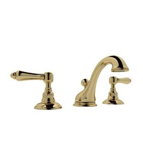 Unlacquered Brass Viaggio C-Spout Widespread Lavatory Faucet with Metal Lever