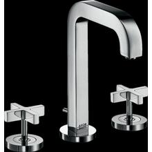 Chrome Widespread Faucet 170 with Cross Handles and Pop-Up Drain, 1.2 GPM
