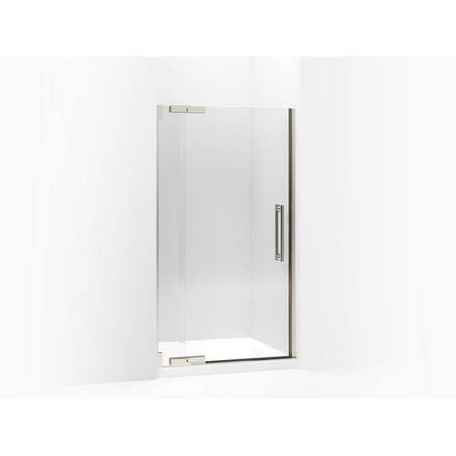 """Crystal Clear Glass With Brushed Nickel Frame Pivot Shower Door, 72-1/4"""" H X 39-1/4 - 41-3/4"""" W, With 3/8"""" Thick Crystal Clear Glass"""