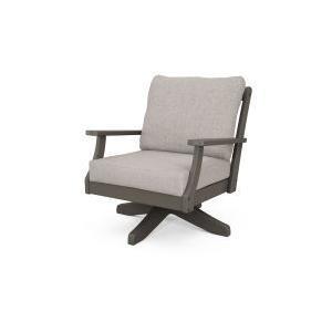 Polywood Furnishings - Braxton Deep Seating Swivel Chair in Vintage Coffee / Weathered Tweed