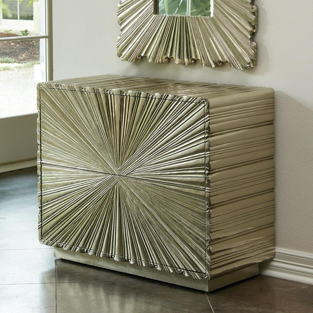See Details - Linenfold Two-Drawer Chest-Silver