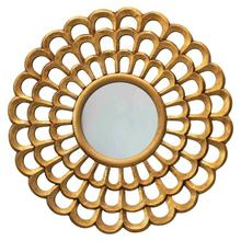 """Product Image - 23-1/2"""" Round Hand-Carved Scalloped Wood Wall Mirror, Antique Gold Finish"""