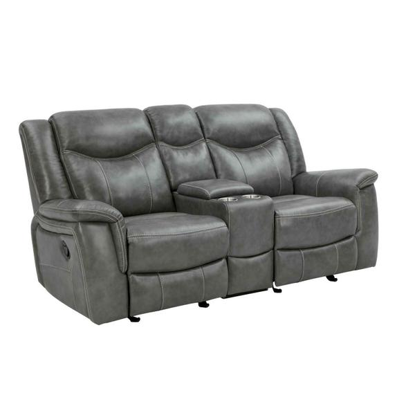 See Details - Conrad Transitional Grey Motion Loveseat