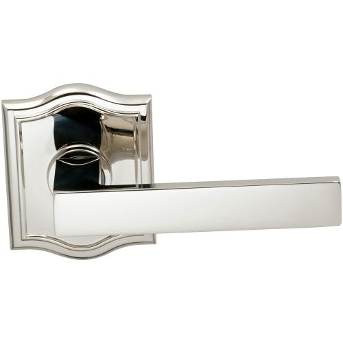 Interior Modern Lever Latchset with Arched Rose in (US14 Polished Nickel Plated, Lacquered)