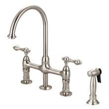 See Details - Harding Kitchen Bridge Faucet with Sidespray and Metal Lever Handles - Brushed Nickel