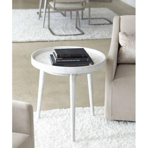 Booker Round End Table in Brushed White