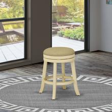 """Devers Swivel Backless Barstool 24"""" Seat Height With Linen White Leg And F12-02 Pu Leather Sandalwood Color"""