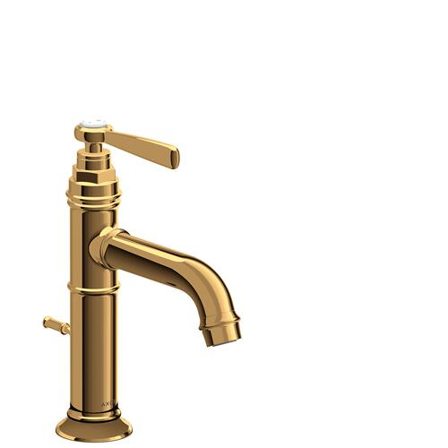 Polished Gold Optic Single lever basin mixer 100 with lever handle and pop-up waste set
