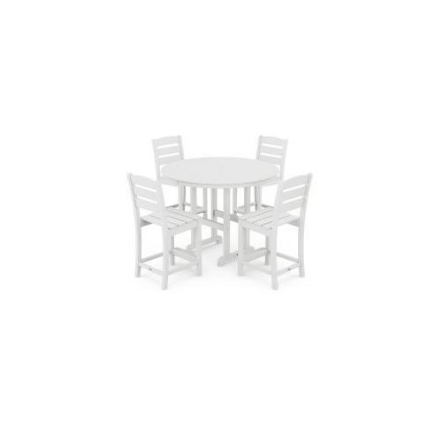 Polywood Furnishings - Lakeside 5-Piece Round Counter Side Chair Set in White