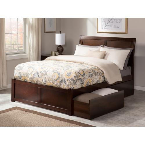 Portland Full Flat Panel Foot Board with 2 Urban Bed Drawers Walnut