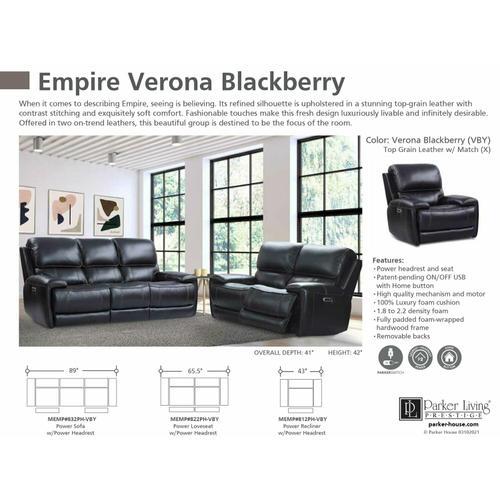 EMPIRE - VERONA BLACKBERRY Power Sofa