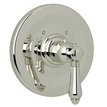 Thermostatic Trim Plate without Volume Control - Polished Nickel with Metal Lever Handle