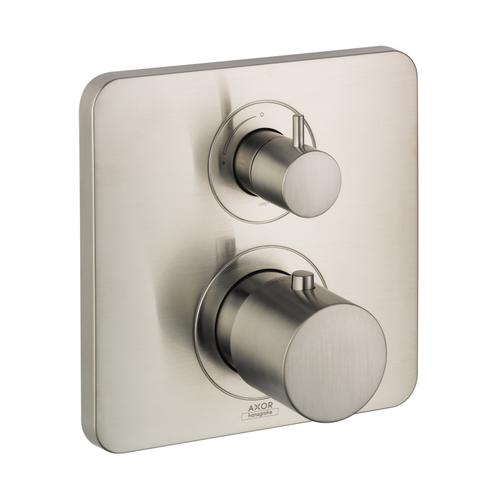 Brushed Nickel Thermostat for concealed installation with shut-off valve