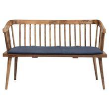 "See Details - 51""W x 24-1/2""D x 33""H Mango Wood Bench w/ Printed Fabric Cushion, Blue w/ White Dots"