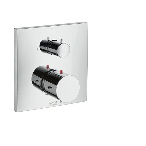 Brushed Nickel Thermostat for concealed installation with shut-off/ diverter valve