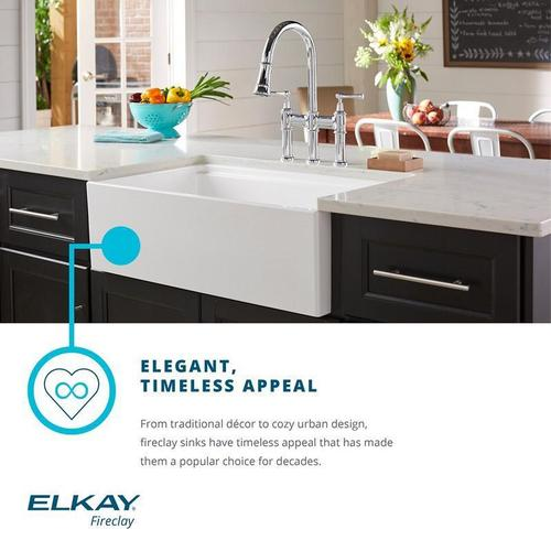 "Elkay Fireclay 29-7/8"" x 19-3/4"" x 10-1/16"", Single Bowl Farmhouse Sink"
