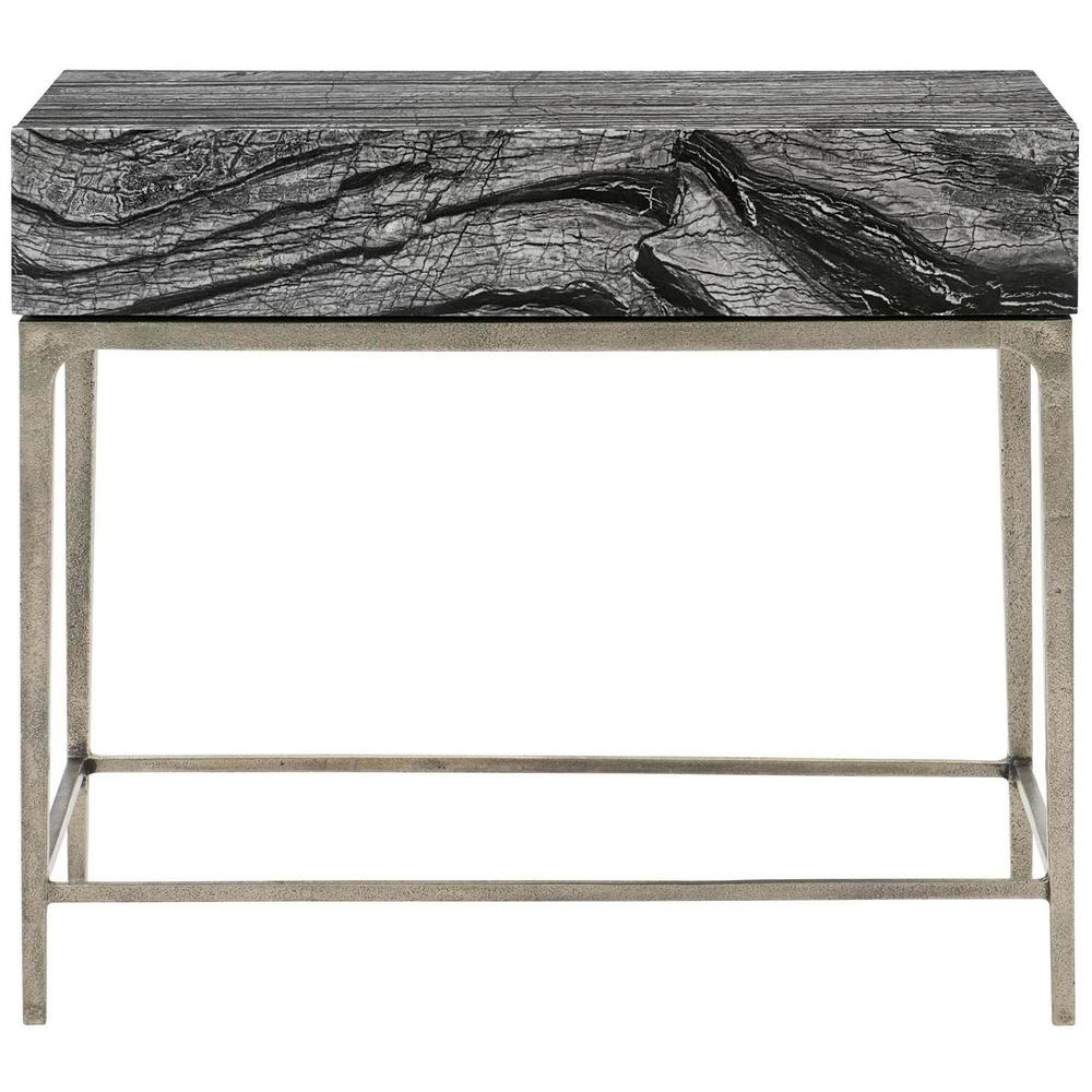 Linea Nightstand in Black Forest Marble (384), Textured Graphite Metal (384)