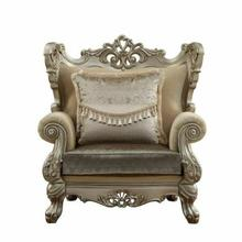 ACME Ranita Chair w/2 Pillows - 51042 - Fabric & Champagne