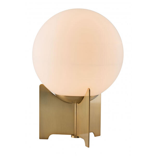 Pearl Table Lamp White & Brushed Brass