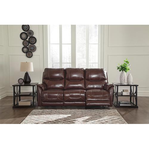 Power Leather Sofa with Adjustable Headrest and Lumbar