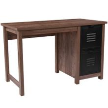 Crosscut Oak Wood Grain Finish Computer Desk with Metal Drawers