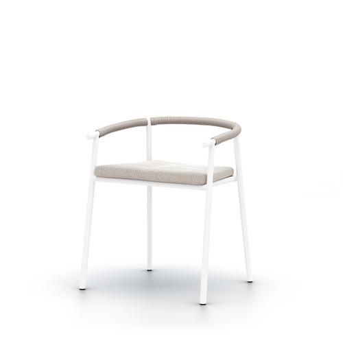 Faye Sand Cover Chord Outdoor Dining Chair, White
