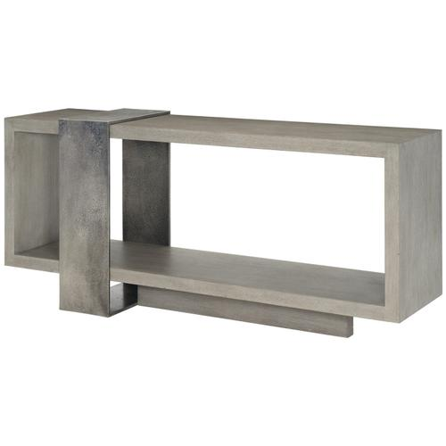 Linea Console Table in Textured Graphite Metal (384), Cerused Greige (384)