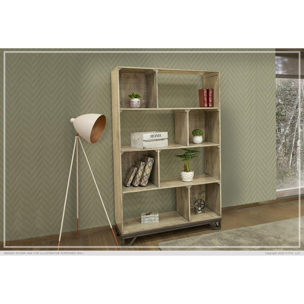 "70"" Bookcase, solid Wood w/ Iron base"