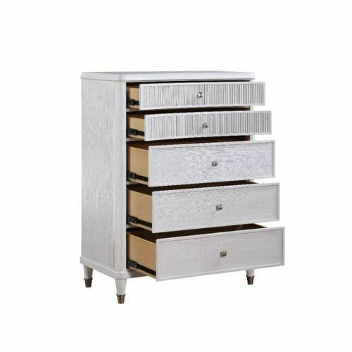 ACME Celestia Chest - 22126 - Coastal - Wood (Solid Poplar), Wood Veneer (Oak), Poly-Resin, MDF, Ply, PB - Off White