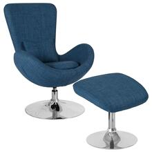 See Details - Blue Fabric Side Reception Chair with Ottoman