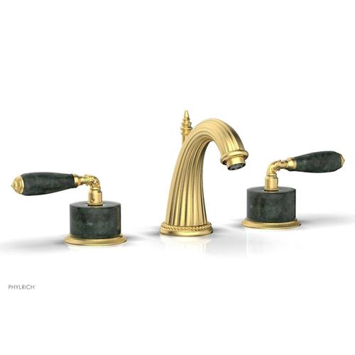 VALENCIA Widespread Faucet Green Marble K338F - Burnished Gold