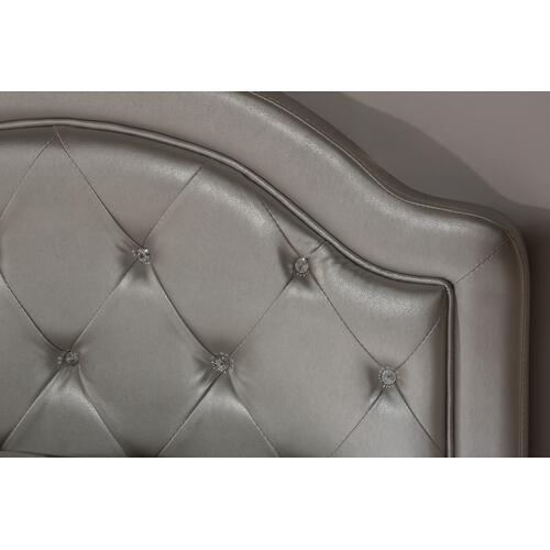 Karley Complete Twin-size Headboard Set, Silver Faux Leather