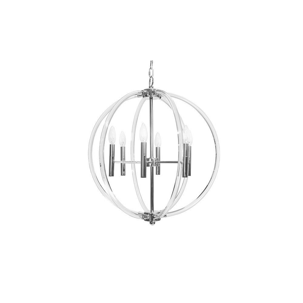 Acrylic Six Light Chandelier In Nickel