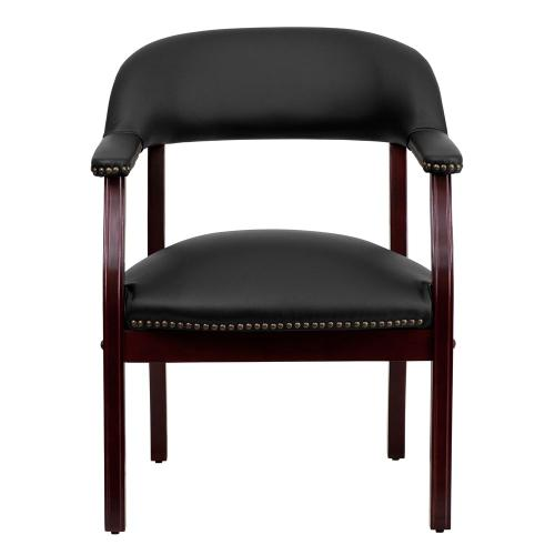 Black Top Grain Leather Conference Chair with Accent Nail Trim