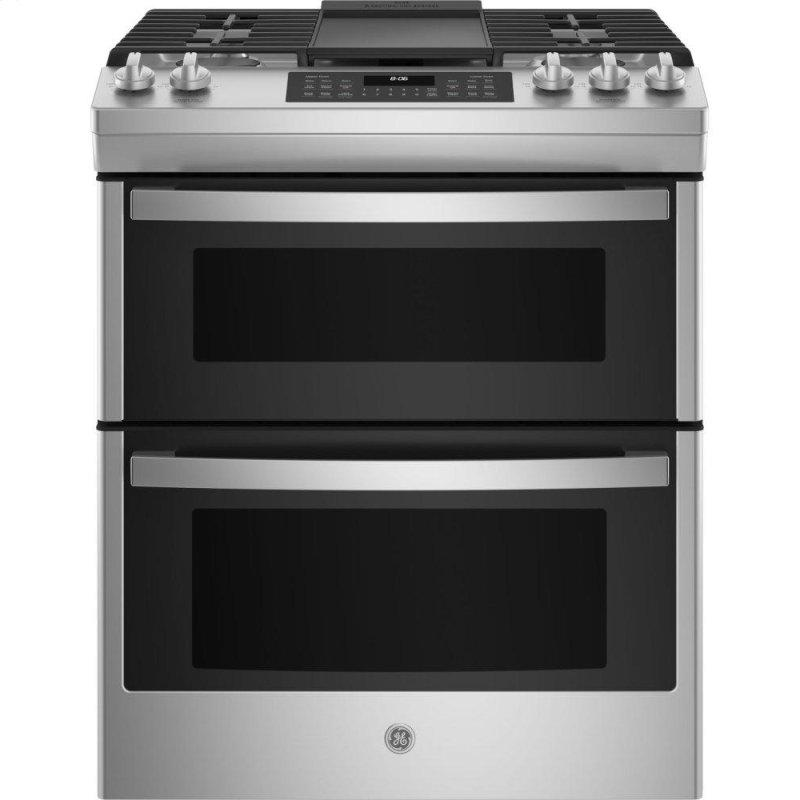 """GE(R) 30"""" Slide-In Front Control Gas Double Oven Range"""