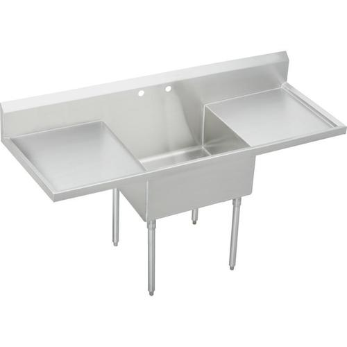 """Elkay Sturdibilt Stainless Steel 84"""" x 27-1/2"""" x 14"""" Floor Mount, Single Compartment Scullery Sink with Drainboard"""