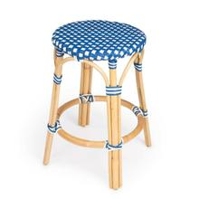 See Details - Evoking images of sidewalk tables in the Cote d'Azur, counter stools like this will give your kitchen or patio the casual sophistication of a Mediterranean coastal bistro. Expertly crafted from thick bent rattan for superb durability, it features weather resistant woven plastic in a blue and white pattern. This backless counter stool is lightweight for easy mobility with comfort to make the space it's in a frequent gathering place.