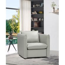 View Product - Divani Casa Tamworth Modern Grey Leather Swivel Chair