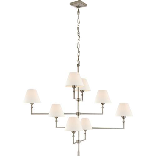 Visual Comfort - Alexa Hampton Jane 8 Light 48 inch Antique Nickel Offset Chandelier Ceiling Light, Large