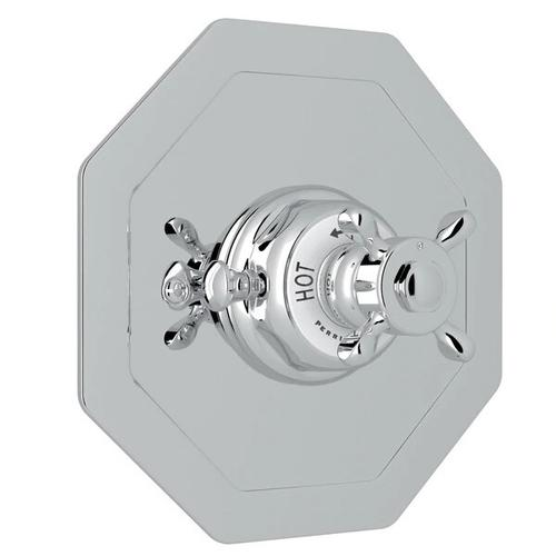 Edwardian Octagonal Concealed Thermostatic Trim without Volume Control - Polished Chrome with Cross Handle