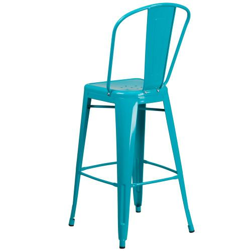 30'' High Crystal Teal-Blue Metal Indoor-Outdoor Barstool with Back