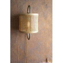 See Details - round iron & rattan wall sconce light