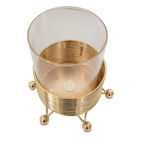 Cylinder Candle Holder W/metal Stand,short