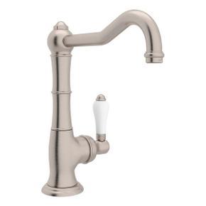 Cinquanta Single Hole Column Spout Bar and Food Prep Faucet - Satin Nickel with White Porcelain Lever Handle