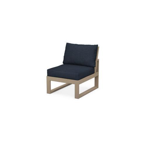 Polywood Furnishings - EDGE Modular Armless Chair in Vintage Sahara / Marine Indigo